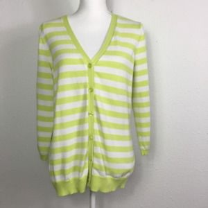 Pendleton L Green Stripe Button Up V-Neck Cardigan